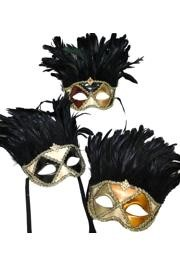 Assorted Paper Mache Domino Venetian Masquerade Mask with Coque Feathers