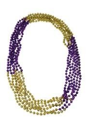 33in 7mm Round 4 Section Metallic Gold/Purple Beads