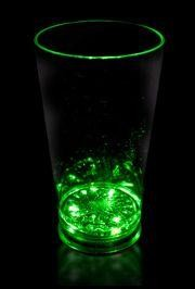 16oz Plastic Green Light Up Pint Glass