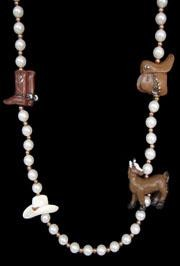 42in Cowboy Necklace w/White Pearl and Gold Spacer Beads w/Horse/ Saddle/ Boot/ Hat Figures