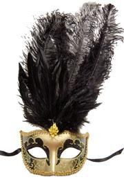 Venetian Masks: Gold and Black Mask with Large Black Ostrich Feathers