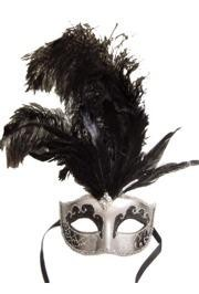 Venetian Masks: Silver and Black Mask with Large Black Ostrich Feathers