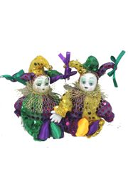 7in Tall x 3in Wide Mardi Gras Dolls with Sequins Accents