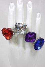 Assorted Color/Style Jumbo Rhinestone Rings