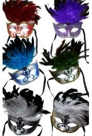 Paper Mache Masks: 6 Assorted Colors Venetian with Coque Feathers