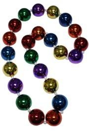 50in 50mm Metallic Rainbow Jumbo Round Ball Necklace