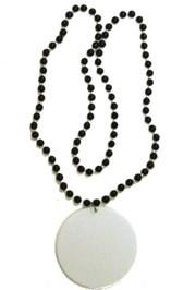 Customizable 3in Medallion Black Clear Coat Necklace
