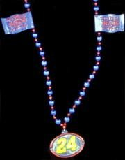 Number 24 Racing Car Flag Medallion Bead Necklace