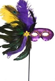 Purple Green and Gold Sequin Feather Masquerade Mask on a Stick with Feathers on the Side