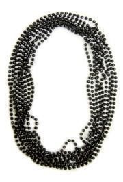60in 16mm Round Black Clear Coat Beads