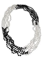 33in 7mm Round 4 Section Black Clear Coat / White Pearl Beads