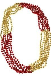 33in 7mm Round 4 Section Metallic Red / Metallic Gold Beads