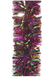 9ft x 5in Purple Laser w/ Green Gold Narrow Tinsel Garland