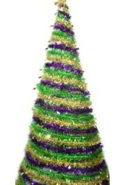 5ft Swirl Purple Green Gold Tree w/Star Edge