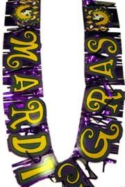 7ft x 8in Mardi Gras Metallic Fringed Banner