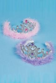 3in Tall x 4 1/4in Wide Assorted Plastic Princess Tiaras With Feathers