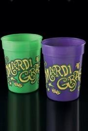 We sell plastic cups to be used as Mardi Gras throws and can huggers to keep your drinks cool.