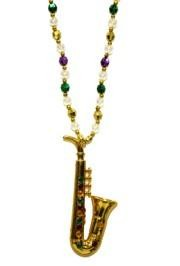 Jeweled Saxophone Medallion Necklace