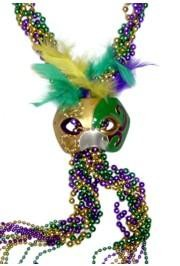 60in Purple Green Gold Braided Beads w/ MG Half Mask