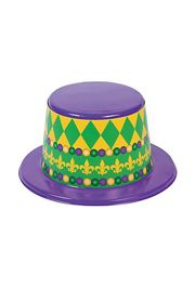 4 1/4in Tall Plastic Purple/ Green/ Gold Mardi Gras Hats w/ Fleur-de-lis Design