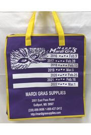 21in Height x 15 1/2in Length x 10 1/4in Width X-Large Bag With Zipper w/ Mardi Gras Supplies Artwork