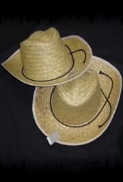 6in Tall x 14in Wide Straw Cowboy Hat for Adults