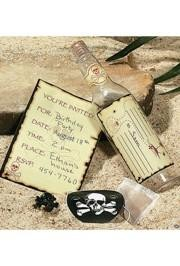 7.5in Plastic Skull Crossbones Invitations in a Bottle