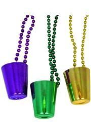 33in 7mm Beads w/ Purple/ Green/ Gold Shot Glass