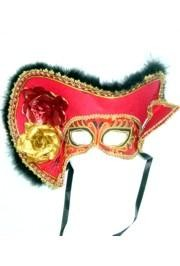 Deluxe Plastic Masquerade Masks: Ladies Red Pirate with Tricorn Hat