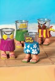 4in Tall 2.4 oz Luau Character Shot Glass