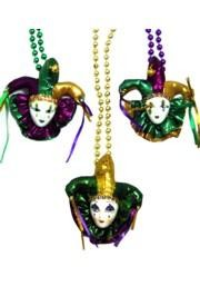 36in 7mm Assorted Metallic Purple/ Green/ Gold Beads w/ Mardi Gras Jester Hat Doll Face