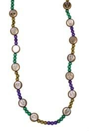 36in 7.5mm Metallic Purple Green Gold Beads w/ 20mm Happy Face Medallions