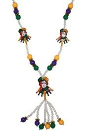 36in 5mm While Pearl w 12mm Purple Green Gold Beads w/ 3 Female Jester Faces