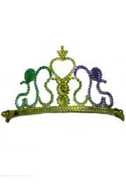3in Tall x 5in Wide Purple Green Gold Plastic Tiara