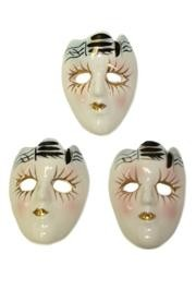 2in Hand Painted Porcelain/ Ceramic Face Pin With Gold Accents
