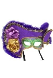 Deluxe Plastic Masks: Ladies Mardi Gras Pirate with Tricorn Hat
