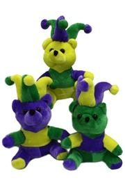 7.5in Plush Mardi Gras Jester Bear