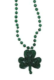33in 6mm Met Green Beads w/ 1in Shamrock Medallion