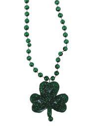 33in 6mm Met Green Beads w/ 1in Shamrock Medallion
