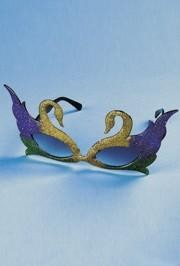 7 1/2in Wide x 4in Tall Glitter Swan Sunglassess in Purple Green Gold