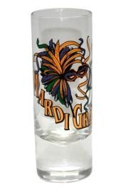 Mardi Gras Shooter / Shot Glass 1 1/2in x 4 1/4in Tall
