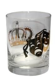 4in Tall x 3 1/4in Wide Mardi Gras Doubled Old Fashioned Glass