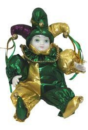 18in Tall x 10in Wide Jester Mardi Gras Doll