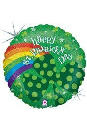 18in Tall St Patrick Rainbow Clover Holographic Mylar Balloons
