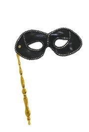 Black Lamei Masquerade Mask On A Gold Stick With Silver And Black Lace Detail