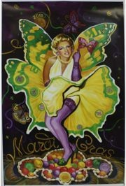 16 1/2 in Wide x 25in Long Mardi Gras 2011 Poster
