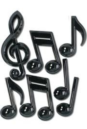 7 Piece 7in-13in-22in Black Plastic Musical Notes