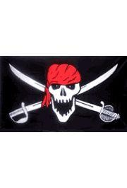 3ft x 5ft Skull and Sword w/Red Scarf Pirate Polyester Flag