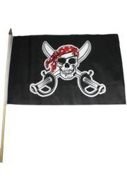 11 1/2in x 18in Skull and Sword Polyester Pirate Flags On A Stick