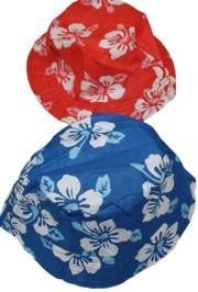 10in x 4 1/2in Tall Hibiscus Print Bucket Hats